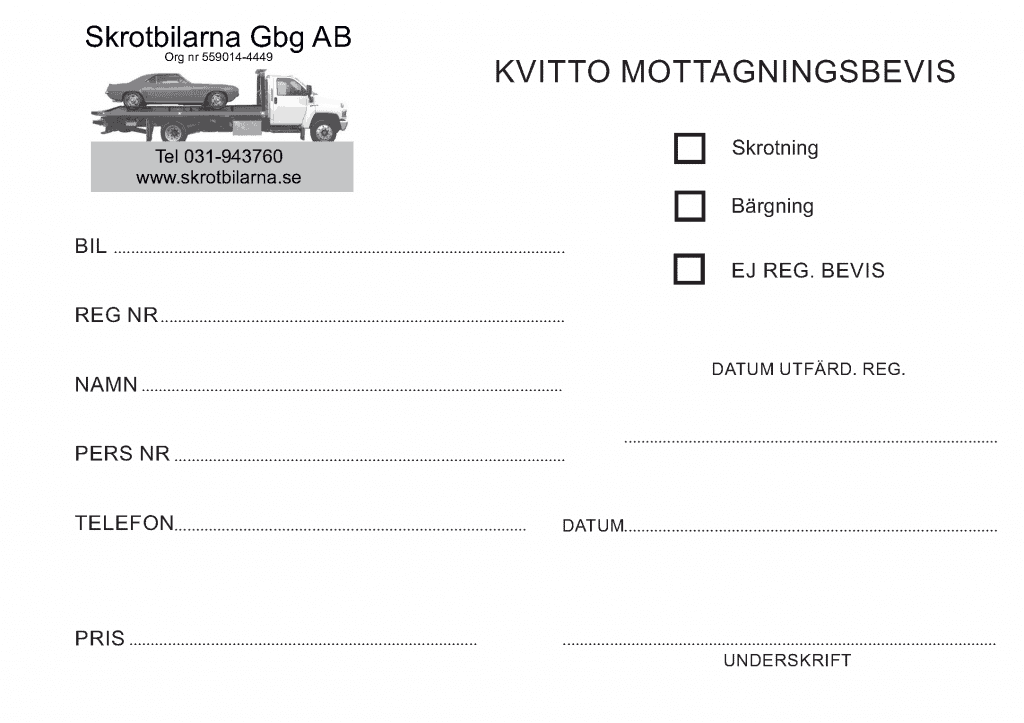 Mottagningsbevis skrota bilen Stenungsund